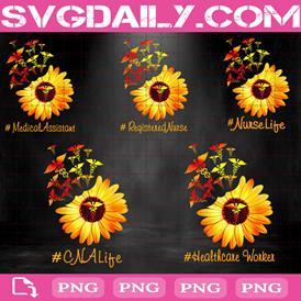 Bundle Sunflower Nurse Life Png, Love Sunflower Png, Bundle Yellow Sunflower Png, Png Printable, Instant Download, Digital File