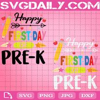 Happy First Day Of Pre-K Svg, Colorful Pencil And Little Stars Svg, Back To School Svg, First Day Of Pre-K Svg, Teacher Life Svg