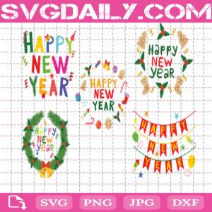 Happy New Year Bundle Svg Free, Christmas Svg Free, New Year And Christmas Svg Free, Clip Cut File Svg, File Svg Free