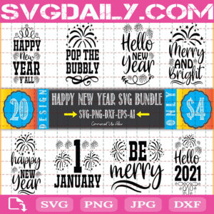 Happy New Year Quotes Bundle Svg Free, Pop The Bubbly Svg Free, Merry And Bright Svg Free, Clip Cut File Svg, File Svg Free