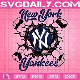 New York Yankees Svg, Yankees Svg, Baseball Team Wall Crack Svg, Baseball Svg, Sport Svg, MLB Sport Svg, Yankees Logo Svg