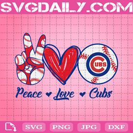 Peace Love Cubs Svg, Sport Svg, Chicago Cubs Svg, MLB Team Svg, Cubs Svg, Cubs MLB Svg, Sport Team Svg, Cubs Logo Svg