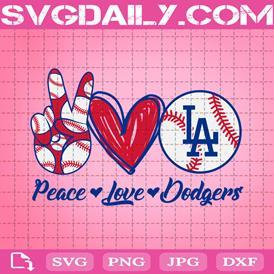 Peace Love Dodders Svg, Sport Svg, Los Angeles Dodgers Svg, Dodgers Svg, LA Dodgers Svg, Dodgers Baseball Svg