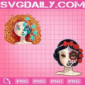 Princess Sugar Skull Bundle Png, Ariel Sugar Skull Png, Belle Sugar Skull Png, Cinderella Sugar Skull Png, Jasmine Sugar Skull Png