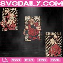 Street Fighter Bundle Svg, Street Fighter Svg, Zangief Svg, Ken Svg, Chun-Li Svg, Svg Png Dxf Eps AI Instant Download