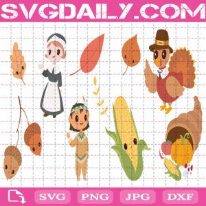 Thanksgiving Autumn Bundle Svg Free, Turkey Svg Free, Autumn Leaves Svg Free, Clip Cut File Svg, File Svg